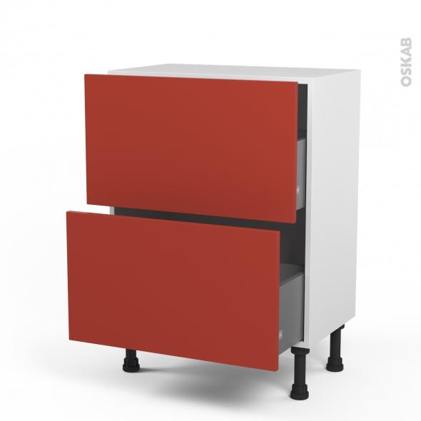 HELIO Rouge - Meuble casserolier prof.37  - 2 tiroirs - L60xH70xP37
