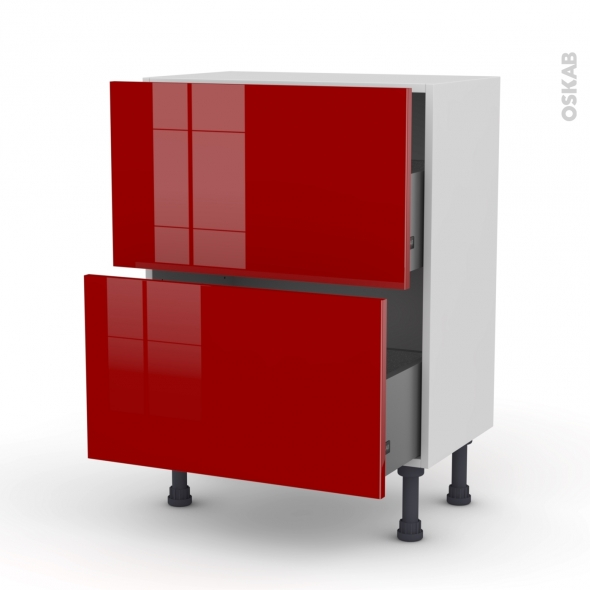 STECIA Rouge - Meuble casserolier prof.37  - 2 tiroirs - L60xH70xP37