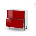 Meuble de cuisine - Casserolier - STECIA Rouge - 2 tiroirs - L80 x H70 x P37 cm