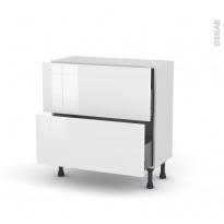Meuble de cuisine - Casserolier - STECIA Blanc - 2 tiroirs - L80 x H70 x P37 cm