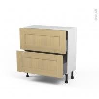 BASILIT Bois Vernis - Meuble casserolier prof.37 - 2 tiroirs - L80xH70xP37