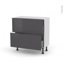 Meuble de cuisine - Casserolier - GINKO Gris - 2 tiroirs - L80 x H70 x P37 cm