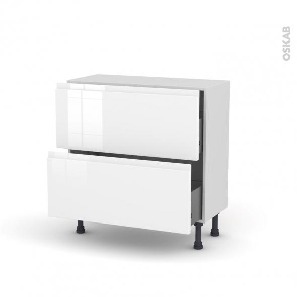 Meuble de cuisine - Casserolier - IPOMA Blanc - 2 tiroirs - L80 x H70 x P37 cm