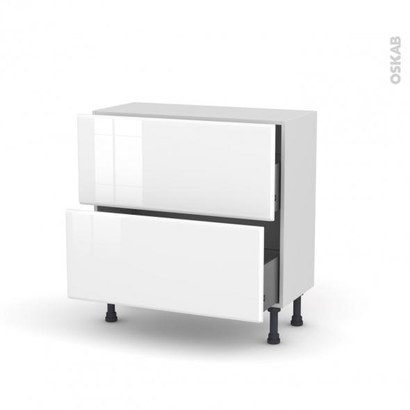 Meuble de cuisine - Casserolier - IRIS Blanc - 2 tiroirs - L80 x H70 x P37 cm
