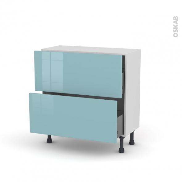 Meuble de cuisine - Casserolier - KERIA Bleu - 2 tiroirs - L80 x H70 x P37 cm