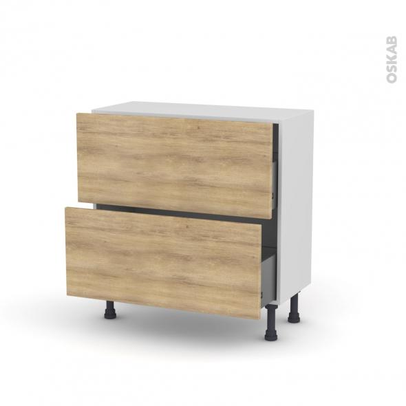 Meuble de cuisine - Casserolier - HOSTA Chêne naturel - 2 tiroirs - L80 x H70 x P37 cm