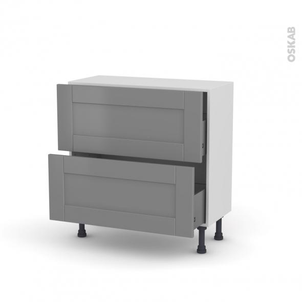 FILIPEN Gris - Meuble casserolier prof.37  - 2 tiroirs - L80xH70xP37
