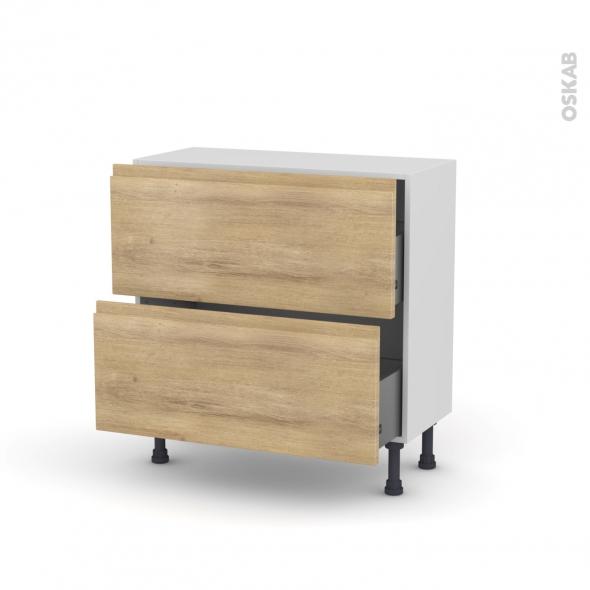 IPOMA Chêne Naturel - Meuble casserolier prof.37  - 2 tiroirs - L80xH70xP37
