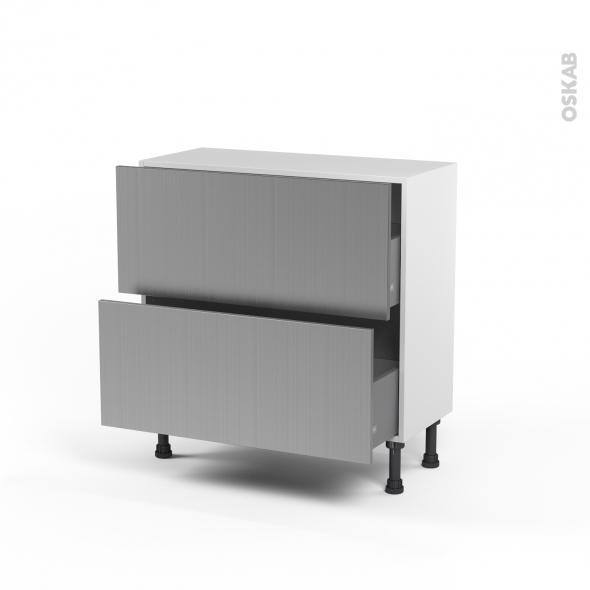 STILO Inox - Meuble casserolier prof.37  - 2 tiroirs - L80xH70xP37
