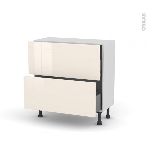 KERIA Ivoire - Meuble casserolier prof.37  - 2 tiroirs - L80xH70xP37