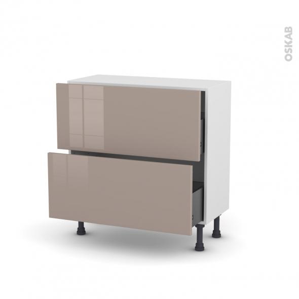 Meuble de cuisine - Casserolier - KERIA Moka - 2 tiroirs - L80 x H70 x P37 cm