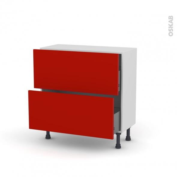 GINKO Rouge - Meuble casserolier prof.37  - 2 tiroirs - L80xH70xP37