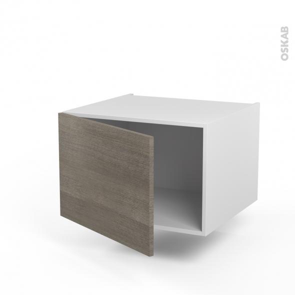 Meuble de cuisine - Haut ouvrant - STILO Noyer Naturel - 1 porte - L60 x H41 x P58 cm