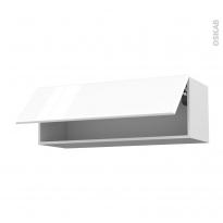 Meuble de cuisine - Haut abattant - IRIS Blanc - 1 porte - L100 x H35 x P37 cm