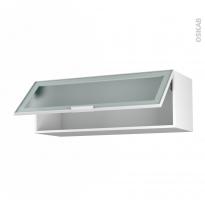Meuble de cuisine - Haut abattant vitré - Façade blanche alu - 1 porte - L100 x H35 x P37 cm - SOKLEO