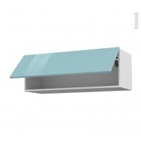 Meuble de cuisine - Haut abattant - KERIA Bleu - 1 porte - L100 x H35 x P37 cm