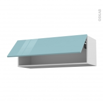 KERIA Bleu - Meuble haut abattant H35  - 1 porte - L100xH35xP37