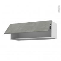 Meuble de cuisine - Haut abattant - FAKTO Béton - 1 porte - L100 x H35 x P37 cm