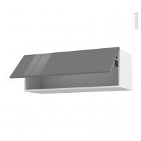 Meuble de cuisine - Haut abattant - STECIA Gris - 1 porte - L100 x H35 x P37 cm
