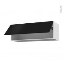 Meuble de cuisine - Haut abattant - GINKO Noir - 1 porte - L100 x H35 x P37 cm