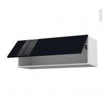 Meuble de cuisine - Haut abattant - KERIA Noir - 1 porte - L100 x H35 x P37 cm