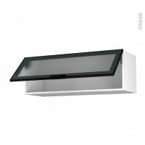 Meuble de cuisine - Haut abattant vitré - Façade noire alu - 1 porte - L100 x H35 x P37 cm - SOKLEO