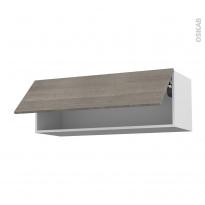 Meuble de cuisine - Haut abattant - STILO Noyer Naturel - 1 porte - L100 x H35 x P37 cm