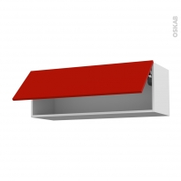 GINKO Rouge - Meuble haut abattant H35  - 1 porte - L100xH35xP37