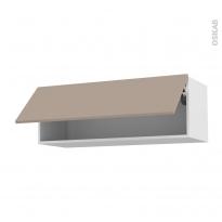 Meuble de cuisine - Haut abattant - GINKO Taupe - 1 porte - L100 x H35 x P37 cm