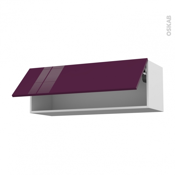 Meuble de cuisine - Haut abattant - KERIA Aubergine - 1 porte - L100 x H35 x P37 cm