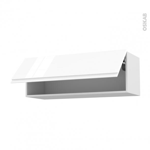 Meuble de cuisine - Haut abattant - IPOMA Blanc - 1 porte - L100 x H35 x P37 cm