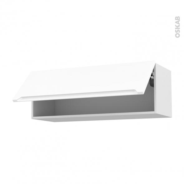 PIMA Blanc - Meuble haut abattant H35  - 1 porte - L100xH35xP37