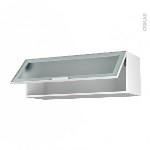 SOKLEO - Meuble haut abattant H35  - Façade blanche alu vitrée - 1 porte - L100xH35xP37