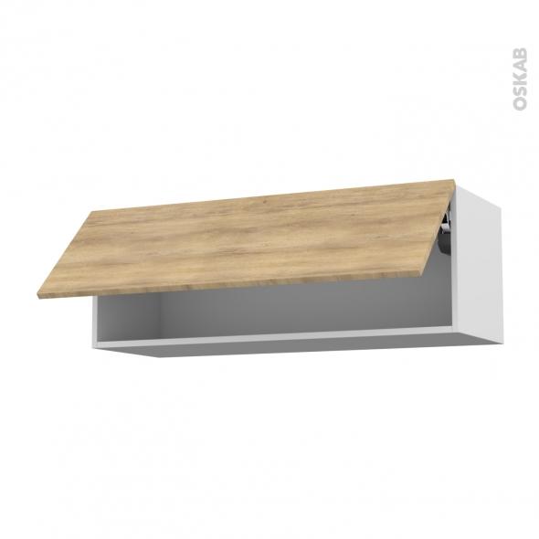Meuble de cuisine - Haut abattant - HOSTA Chêne naturel - 1 porte - L100 x H35 x P37 cm