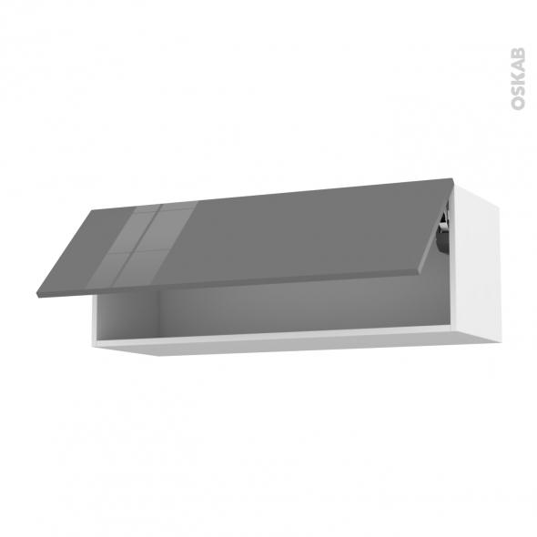 STECIA Gris - Meuble haut abattant H35  - 1 porte - L100xH35xP37