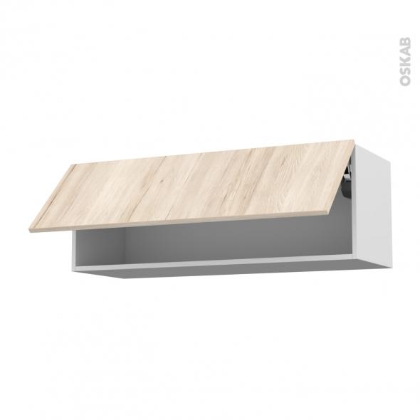 Meuble de cuisine - Haut abattant - IKORO Chêne clair - 1 porte - L100 x H35 x P37 cm