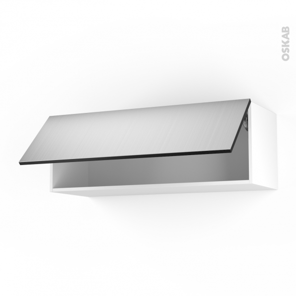 STILO Inox - Meuble haut abattant H35  - 1 porte - L100xH35xP37