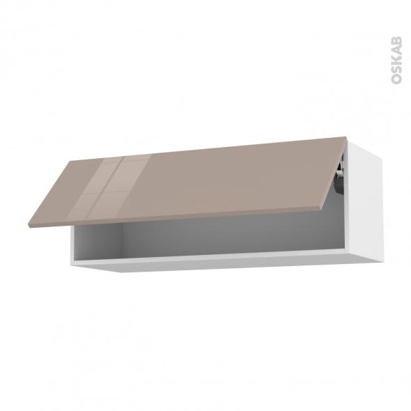 Meuble de cuisine - Haut abattant - KERIA Moka - 1 porte - L100 x H35 x P37 cm