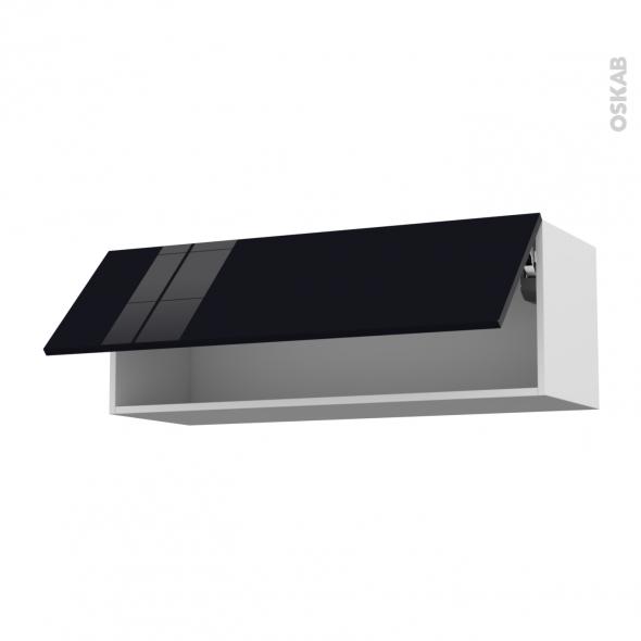 KERIA Noir - Meuble haut abattant H35  - 1 porte - L100xH35xP37