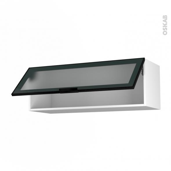 SOKLEO - Meuble haut abattant H35  - Façade noire alu vitrée - 1 porte - L100xH35xP37