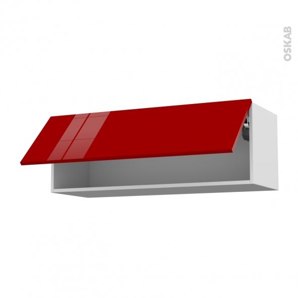 Meuble de cuisine Haut abattant STECIA Rouge 1 porte L100 x H35 x ...