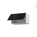 Meuble de cuisine - Haut abattant - GINKO Noir - 1 porte - L60 x H35 x P37 cm