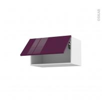 Meuble de cuisine - Haut abattant - KERIA Aubergine - 1 porte - L60 x H35 x P37 cm