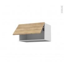 Meuble de cuisine - Haut abattant - HOSTA Chêne naturel - 1 porte - L60 x H35 x P37 cm