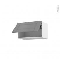 Meuble de cuisine - Haut abattant - FILIPEN Gris - 1 porte - L60 x H35 x P37 cm