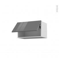 Meuble de cuisine - Haut abattant - STECIA Gris - 1 porte - L60 x H35 x P37 cm