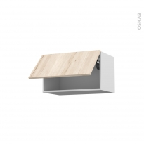 IKORO Chêne clair - Meuble haut abattant H35  - 1 porte - L60xH35xP37