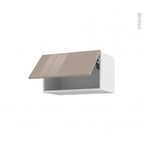 Meuble de cuisine - Haut abattant - KERIA Moka - 1 porte - L60 x H35 x P37 cm
