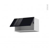Meuble de cuisine - Haut abattant - KERIA Noir - 1 porte - L60 x H35 x P37 cm