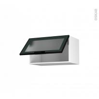 Meuble de cuisine - Haut abattant vitré - Façade noire alu - 1 porte - L60 x H35 x P37 cm - SOKLEO